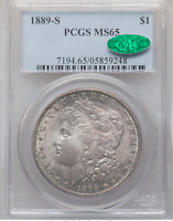 1889-S MORGAN DOLLAR PCGS MINT STATE 65 CAC LUSTROUS COLOR ON OBVERSE AND REVERSE PQ