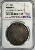 1799 $1 DRAPED BUST DOLLAR NGC EXTRA FINE  DETAILS IMPROPERLY CLEANED