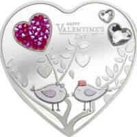 HAPPY VALENTINES DAY SILVER HEARTS PROOF SILVER COIN 5$ COOK