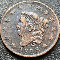 1818 LARGE CENT CORONET HEAD ONE CENT 1C HIGH GRADE EXTRA FINE  28981