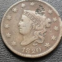 1820 LARGE CENT CORONET HEAD ONE CENT 1C HIGHER GRADE VF DETAILS 28982