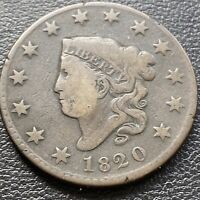 1820 LARGE CENT CORONET HEAD ONE CENT 1C MID GRADE  28983