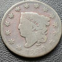 1820 LARGE CENT CORONET HEAD ONE CENT 1C CIRCULATED 28984