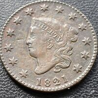 1821 LARGE CENT CORONET HEAD ONE CENT 1C HIGHER GRADE EXTRA FINE   28985