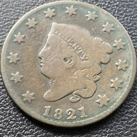 1821 LARGE CENT CORONET HEAD ONE CENT 1C BETTER GRADE  28986
