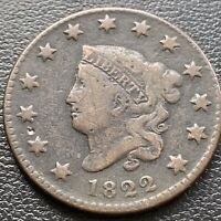 1822 LARGE CENT CORONET HEAD ONE CENT 1C BETTER GRADE 28988