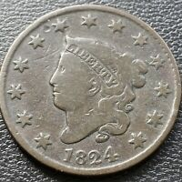 1824 LARGE CENT CORONET HEAD ONE CENT 1C BETTER GRADE 28991