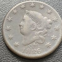 1826 LARGE CENT CORONET HEAD ONE CENT 1C MID GRADE 28994