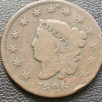1826 LARGE CENT CORONET HEAD ONE CENT 1C MID GRADE 28995
