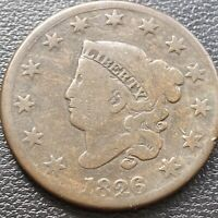 1826 LARGE CENT CORONET HEAD ONE CENT 1C MID GRADE 28996