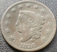 1826 LARGE CENT CORONET HEAD ONE CENT 1C MID GRADE BUT DAMAGE 28998
