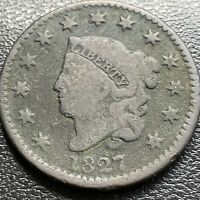 1827 LARGE CENT CORONET HEAD ONE CENT 1C CIRCULATED 29002