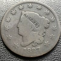 1827 LARGE CENT CORONET HEAD ONE CENT 1C CIRCULATED 29004