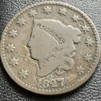 1827 LARGE CENT CORONET HEAD ONE CENT 1C CIRCULATED 29005