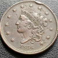 1836 LARGE CENT CORONET HEAD ONE CENT 1C BETTER GRADE CUD 29008