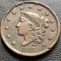 1837 LARGE CENT CORONET HEAD ONE CENT 1C BETTER GRADE  29009