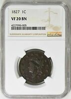 1827 CORONET HEAD LARGE CENT NGC VF-20 N-8 R-3