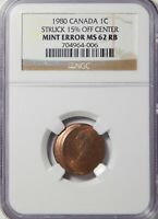 1980 CANADA 1 CENT NGC MINT STATE 62 RB STRUCK OFF-CENTER 15