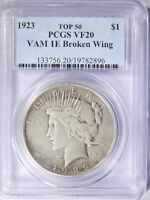 1923 PEACE SILVER DOLLAR VAM-1E BROKEN WING PCGS VF-20