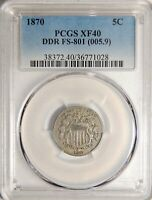 1870 SHIELD NICKEL DDR FS-801 PCGS EXTRA FINE -40