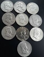 FRANKLIN HALF DOLLAR LOT OF 10 90  SILVER AVERAGE CIRCULATED