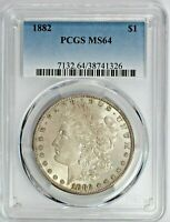 1882 MORGAN SILVER DOLLAR $1 COIN PCGS MINT STATE 64