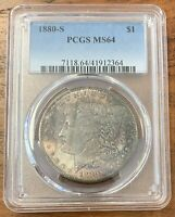 1880-S MORGAN SILVER DOLLAR PCGS MINT STATE 64END OF ROLL TONED