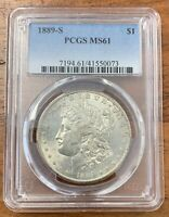 1889-S MORGAN SILVER DOLLAR PCGS MINT STATE 61BETTER DATE