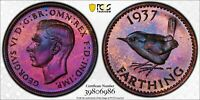 1937 GREAT BRITAIN 1 FARTHING PCGS PR66RB PROOF TONED ONLY 6 GRADE HIGHER