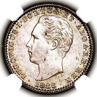 1886 LUIS I PORTUGAL SILVER ONE HUNDRED REIS 100R KM 510 NGC