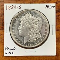 1884 S MORGAN SILVER DOLLAR ABOUT UNCIRCULATED AU  PROOF LIK
