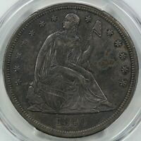 1840 SEATED LIBERTY SILVER DOLLAR, PCGS AU DETAILS, CLEANED.
