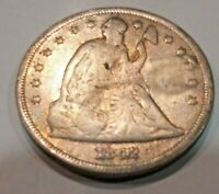 1842 SEATED LIBERTY DOLLAR  GOOD CONDITION  EARLY DATE LIBERTY ON SHIELD