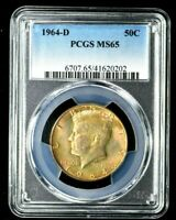 1964 D KENNEDY HALF DOLLAR 50C PCGS MS65 NICELY TONED  0202B