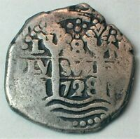 AUTHENTIC 1728 SPANISH SILVER 8 REALES COB COIN FROM POTOSI