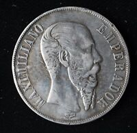 LY  1867 MEXICO EMPIRE OF MAXIMILLIAN SILVER 1 PESO IN GREAT