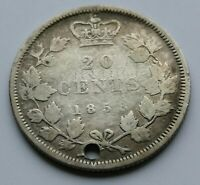 CANADA  20  CENTS  1858       NICE  HOLED   CONDITION