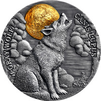 GRAY WOLF WILDLIFE IN THE MOONLIGHT 2 OZ ANTIQUE FINISH SILV