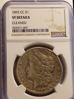 1892 CC MORGAN DOLLAR. NGC CERTIFIED. VF DETAILS BEAUTIFUL CLEANED. LE837