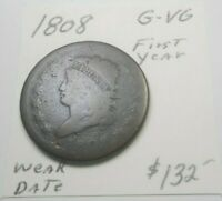 1808 CLASSIC HEAD LARGE CENT CHOCOLATE BROWN - NOT PITTED WEAKER DATE G-VG