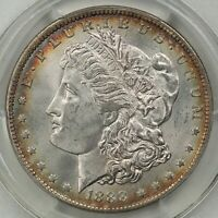 1888-O MORGAN SILVER DOLLAR, PCGS MINT STATE 64 CAC, CLEAN FIELDS, TARGET TONING, PQ.