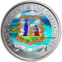 2020 ST VINCENT COAT OF ARMS 1 OUNCE PURE SILVER COLORIZED E
