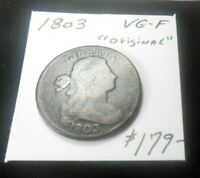 1803 DRAPED BUST LARGE CENT 2  V.G.- FINE 218 YEARS OLD - ORIGINAL NEVER CLEANED