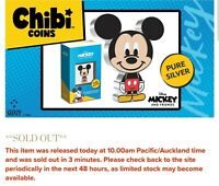 NEW 2021 CHIBI MICKEY MOUSE 1 OZ SILVER PROOF COIN NEW ZEALA