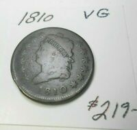 1810 U.S. CLASSIC LARGE CENT VG CHOCOLATE BROWN - BOLD LIBERTY & DATE