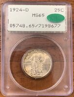 1924-D STANDING LIBERTY QUARTER PCGS MINT STATE 65 CAC COIN