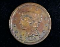 1856 BRAIDED HAIR LARGE ONE CENT SLANTED 5 VARIETY GORGEOUS TONE EARLY 1C COIN