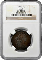 1802 DRAPED BUST LARGE CENT NGC EXTRA FINE 40