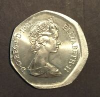 GREAT BRITAIN 1982 50 PENCE OFF CENTER ERROR