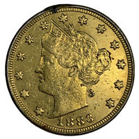 1883 24K GOLD PLATED 'RACKETEER' LIBERTY V NICKEL - GREAT HISTORY